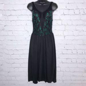 Vintage Black and Green Long Nightie 1990's Lace